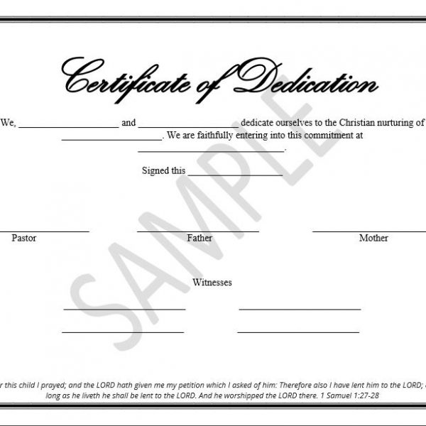 Printable Child Dedication Certificate Templates  The Disciplers