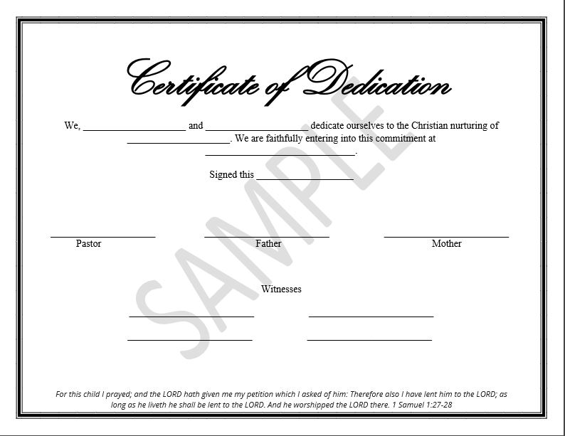 The Disciplers  Baby Dedication Certificates Templates